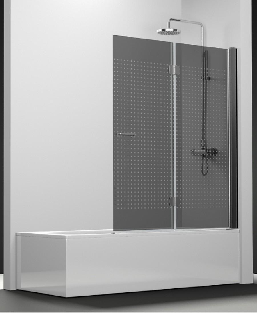 pare bain arcoiris 2 volets verre fum sabl quadra 90x150. Black Bedroom Furniture Sets. Home Design Ideas