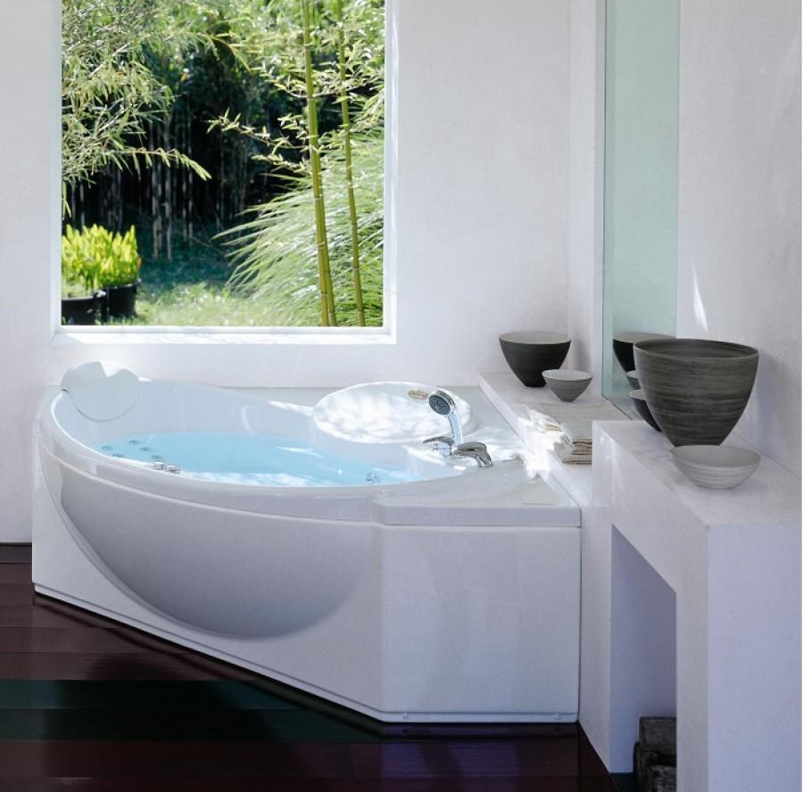 Baignoire baln o d 39 angle celtia 150x150 avec robinetterie jacuzzisanitair - Baignoire balneo destockage ...
