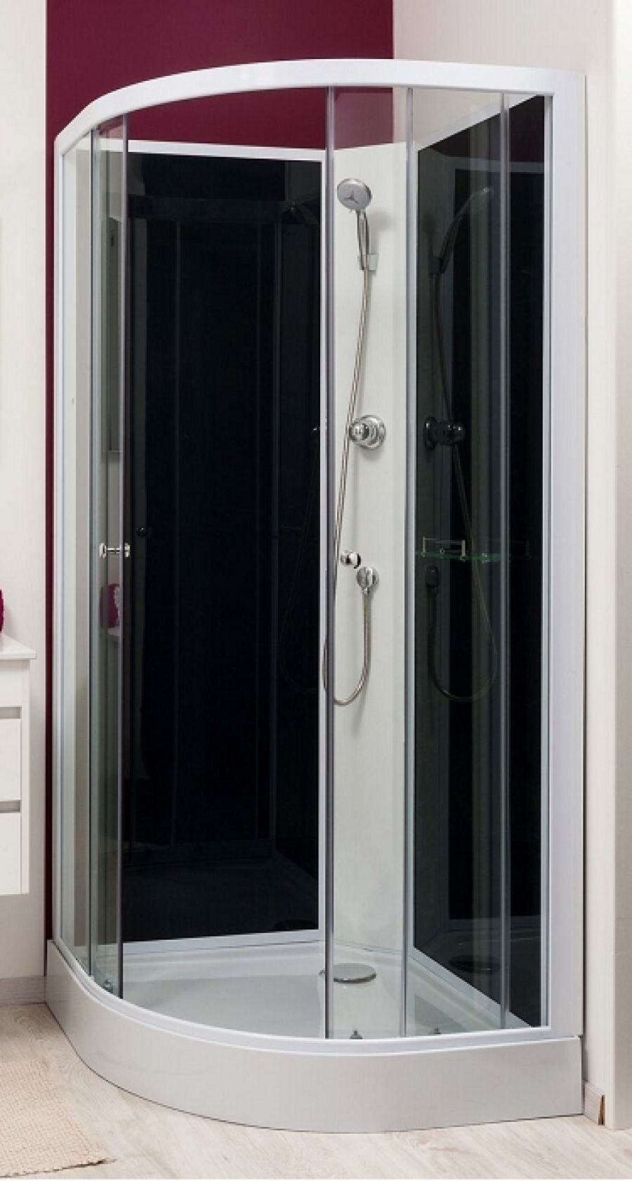 Cabine de douche gena blanc sans silicone 80 - Cabine de douche sans joint silicone ...