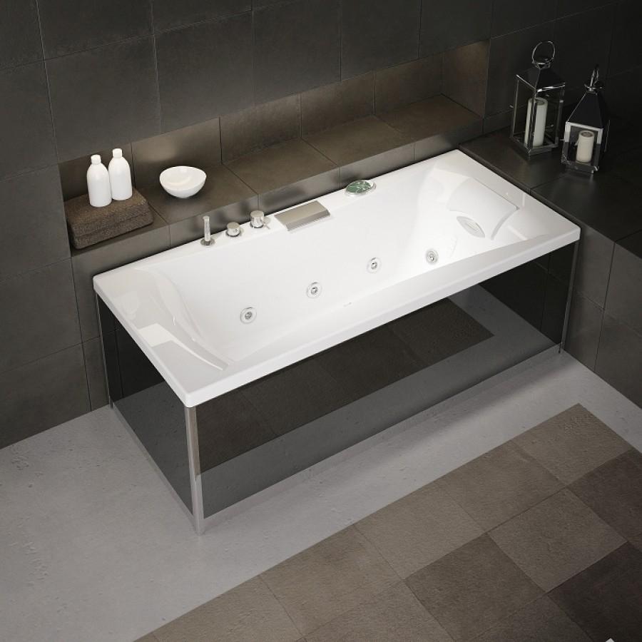 Tablier en verre noir pour baignoire kinedo fa ade gamme for Meuble pour baignoire