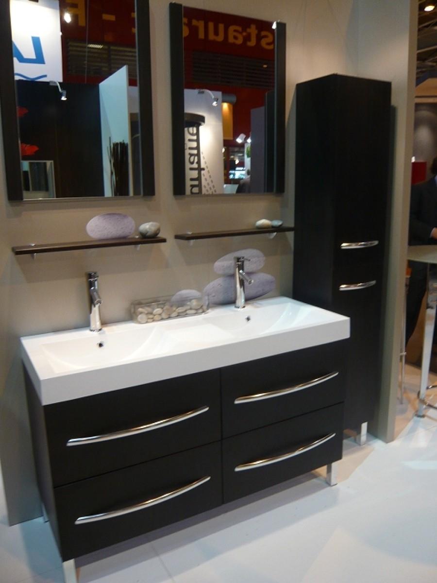meuble double vasque square 130 cm weng meuble de salle de bain douche baignoire. Black Bedroom Furniture Sets. Home Design Ideas