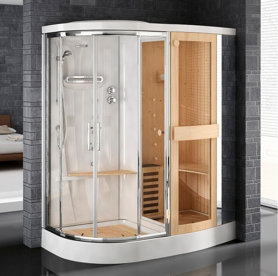 cabine de douche avec sauna stockolm r 180 version droite meuble de salle de. Black Bedroom Furniture Sets. Home Design Ideas