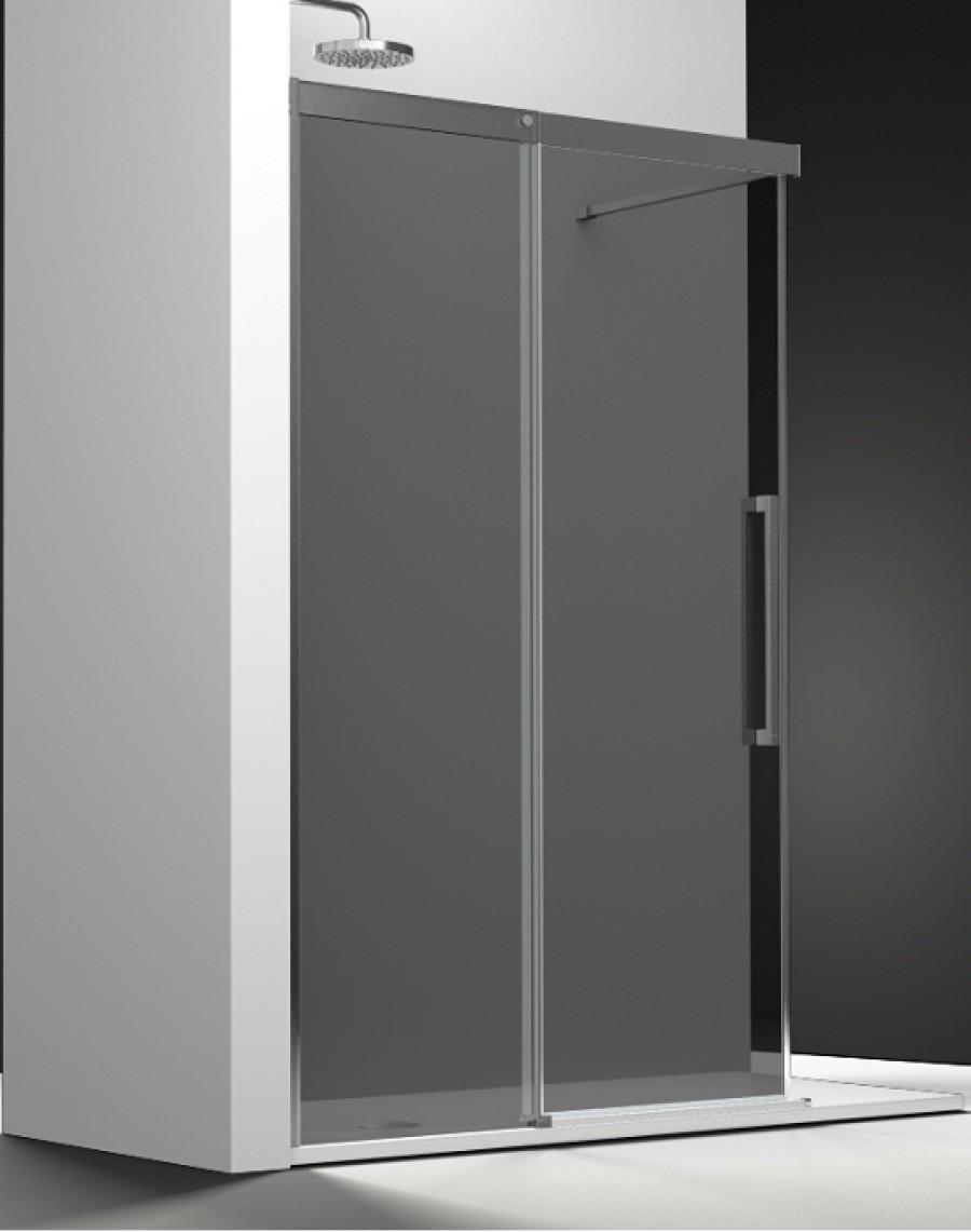 paroi fixe coulissant verre fum 150cm droitesanitaire. Black Bedroom Furniture Sets. Home Design Ideas