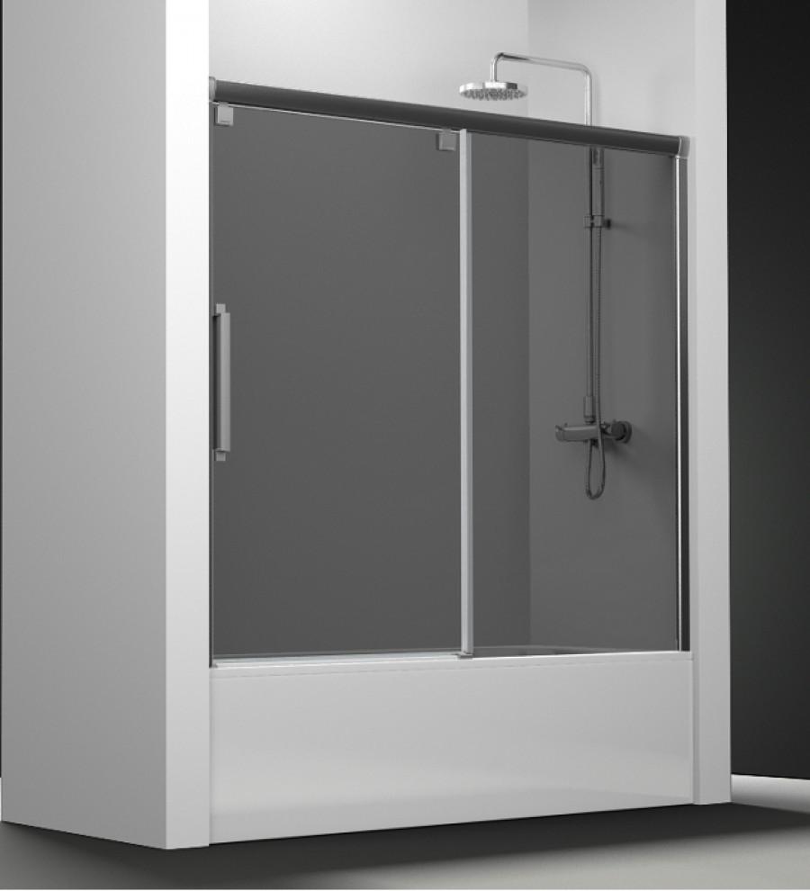 paroi de baignoire verre fum 1 panneau coulissant 160cm. Black Bedroom Furniture Sets. Home Design Ideas