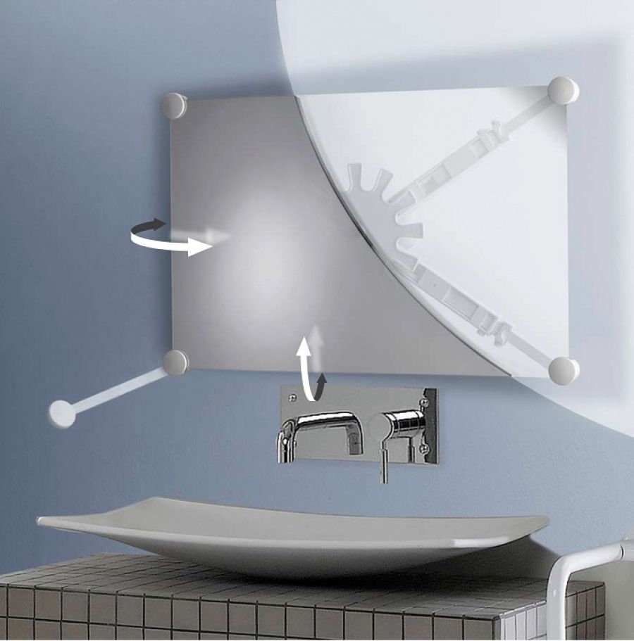 Support miroir orientable multidirectionnel blanc 047590 for Support gel douche salle bain