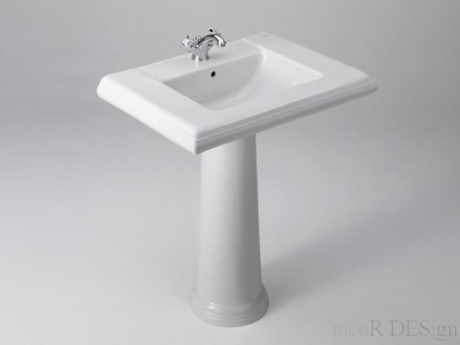 Lavabo sur colonne r tro america for Meuble lavabo sur colonne