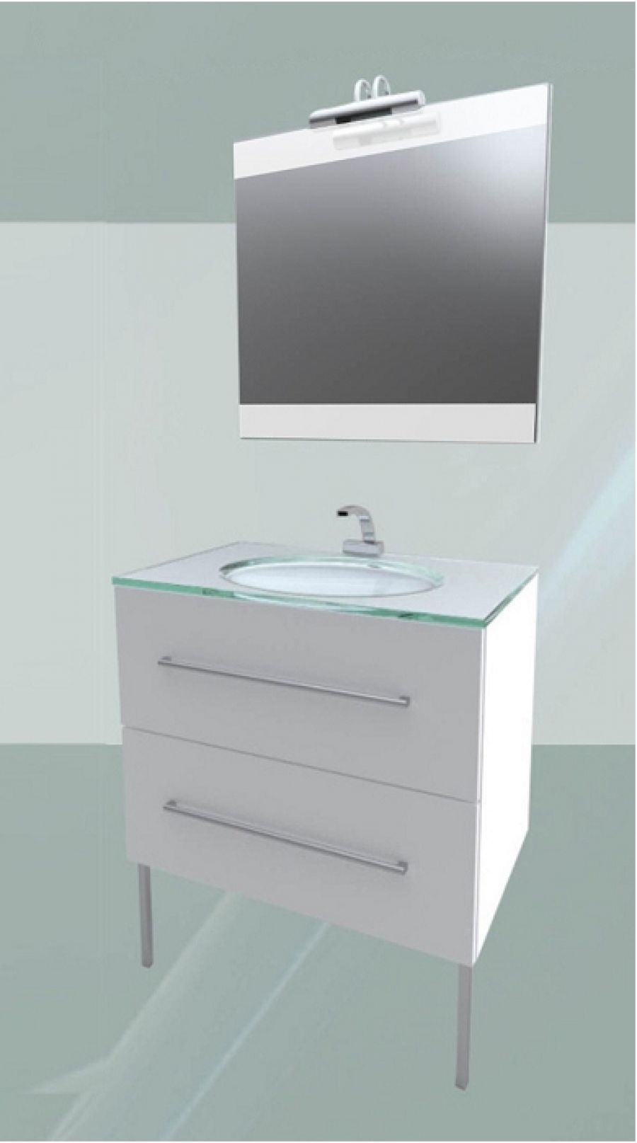 Meuble simple vasque mybox 80 blanc aurlane for Meuble sanitaire