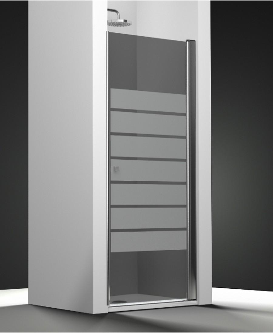 Porte de douche pivotante verre fum sabl barres 50cm for Meuble de douche