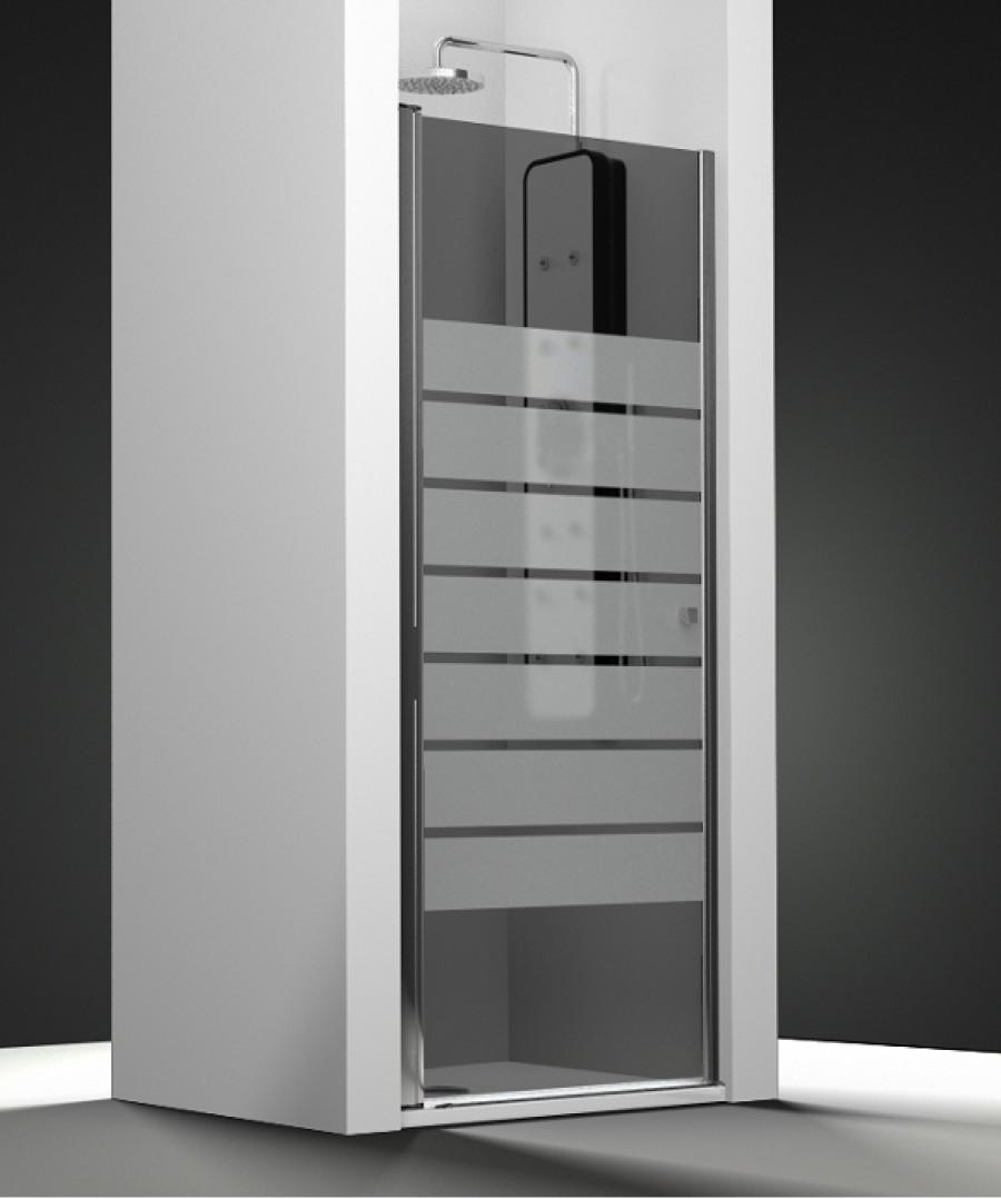 porte de douche pivotante verre fum sabl barres 50cm. Black Bedroom Furniture Sets. Home Design Ideas