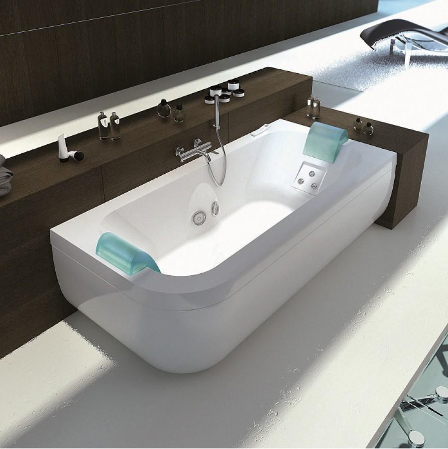baignoire baln o double t te aquasonge 190 droite avec meuble de salle. Black Bedroom Furniture Sets. Home Design Ideas