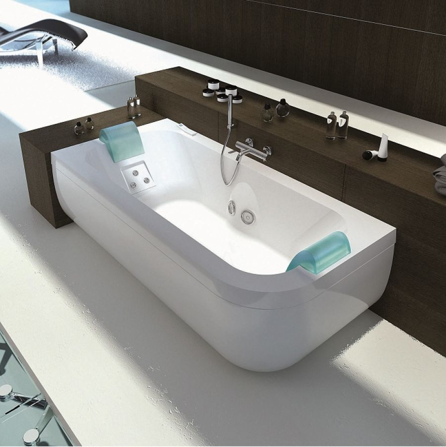 baignoire baln o double t te aquasonge 190 gauche avec meuble de salle. Black Bedroom Furniture Sets. Home Design Ideas