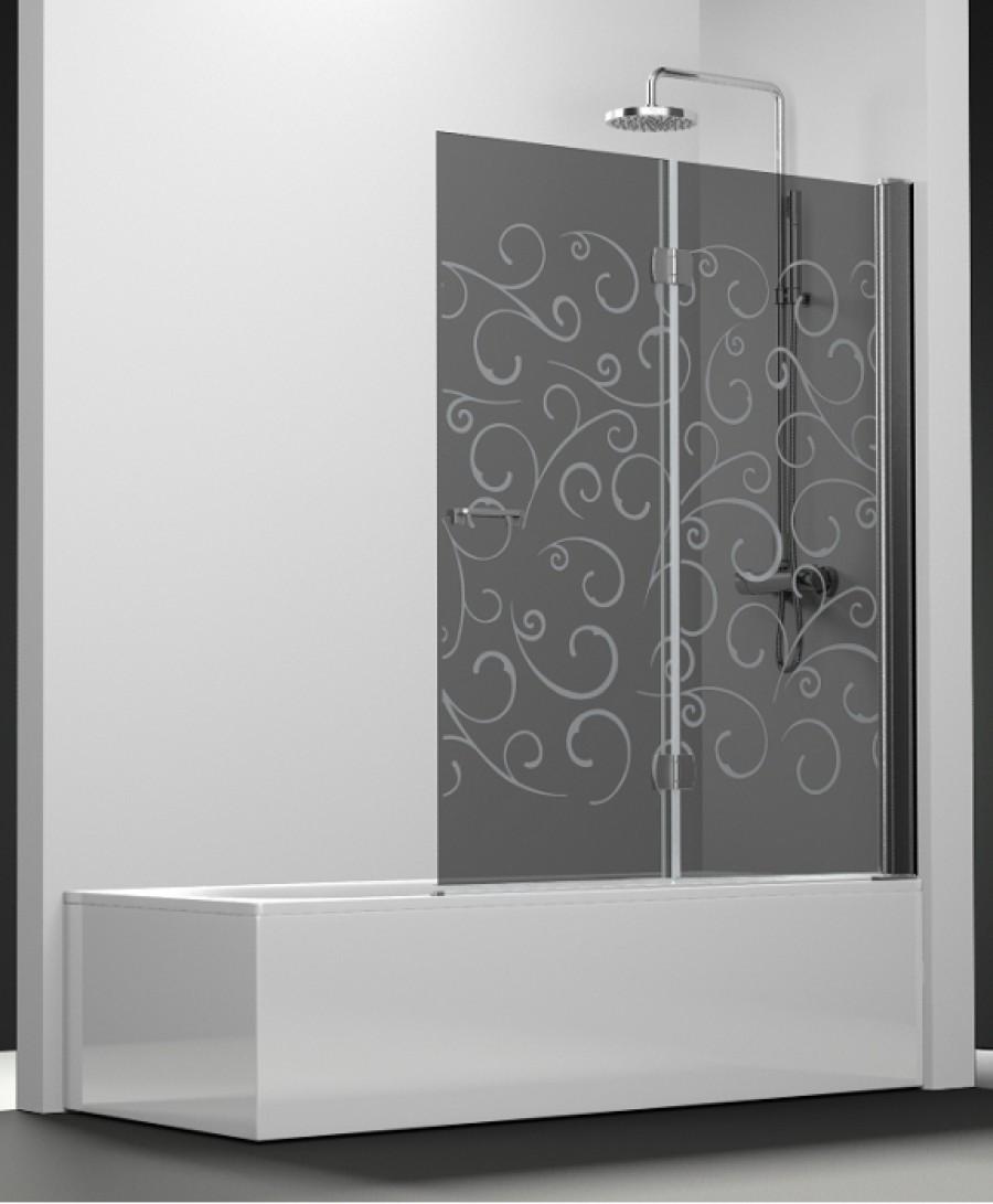 pare bain arcoiris 2 volets verre fum sabl volutas. Black Bedroom Furniture Sets. Home Design Ideas