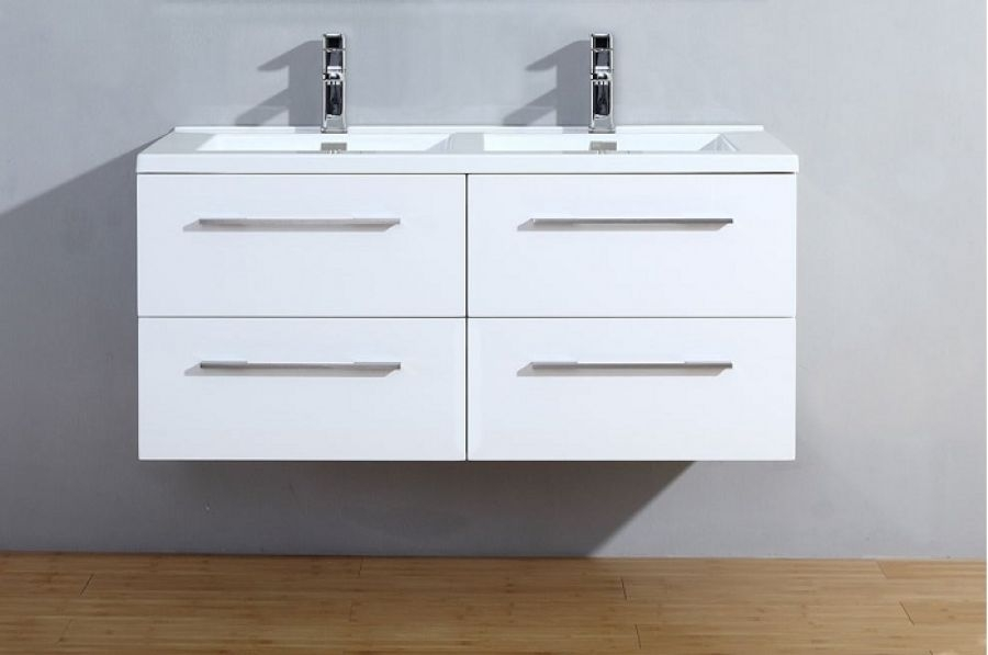 meuble double vasque 120cm saturn 2 0 blanc brillant sans meuble de salle. Black Bedroom Furniture Sets. Home Design Ideas