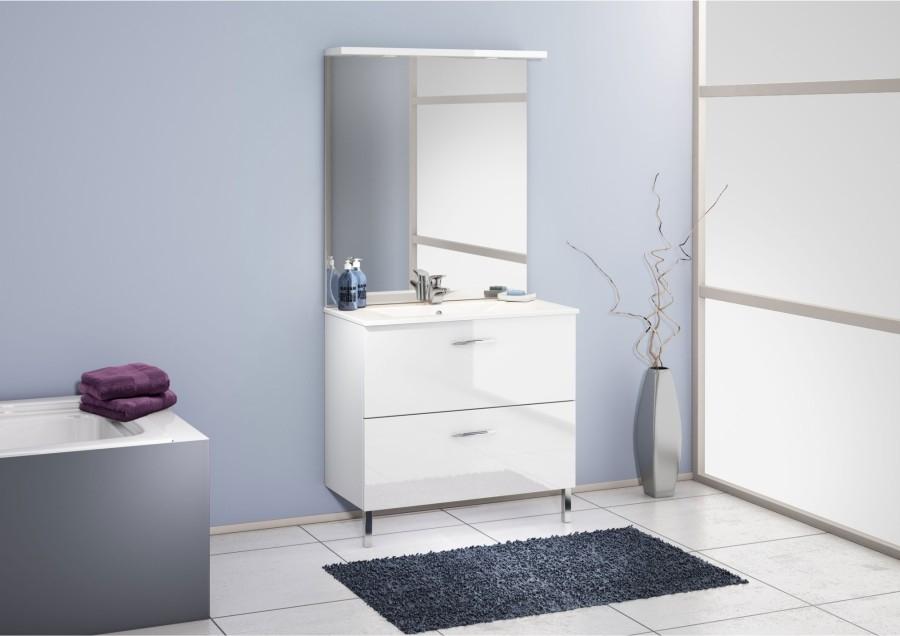 Meuble simple vasque 90 cm chango cristal blancsanitaire for Meuble de douche