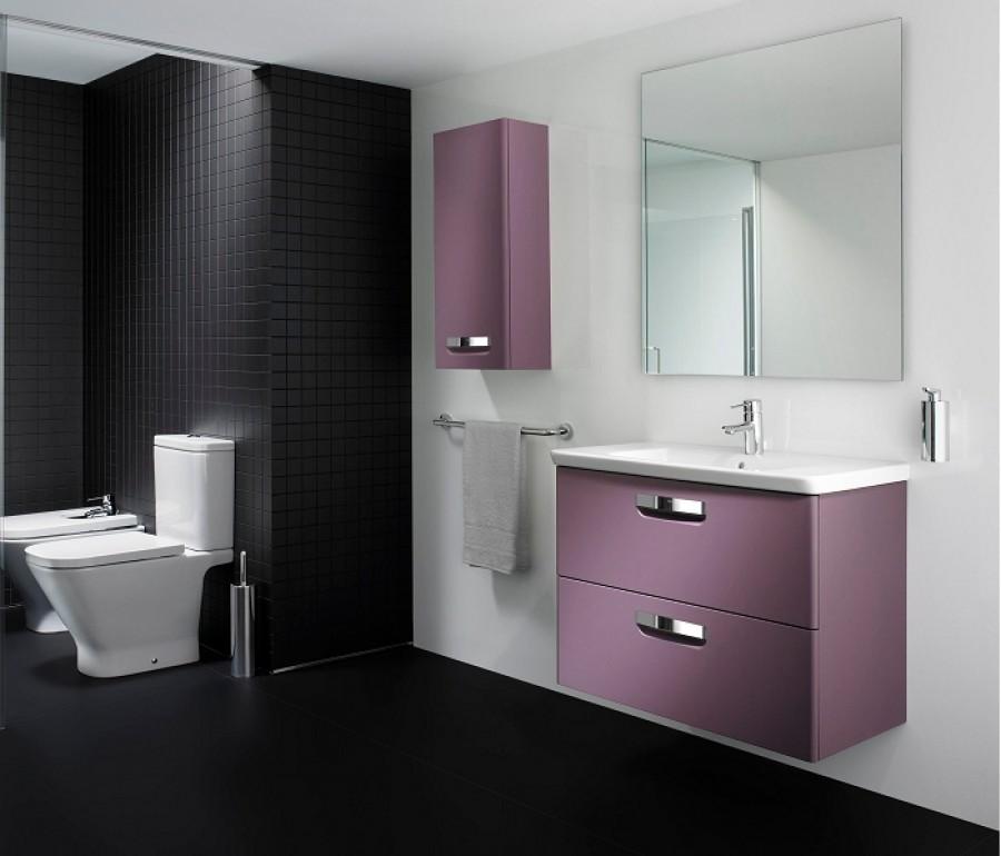 Meuble simple vasque unik the gap 80cm raisin for Meuble de salle de bain roca