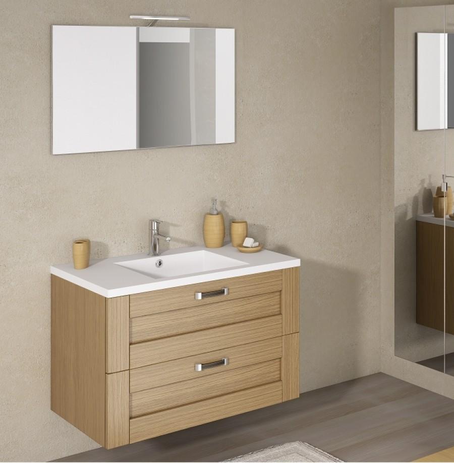 Meuble simple vasque cosy 90 cm baltique naturelsanitaire for Module salle de bain