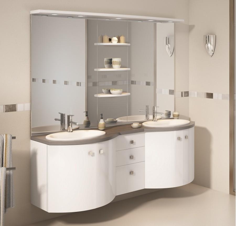 Old meuble double vasque 175cm eole blanc laqu sanitaire for Meuble salle de bain blanc double vasque