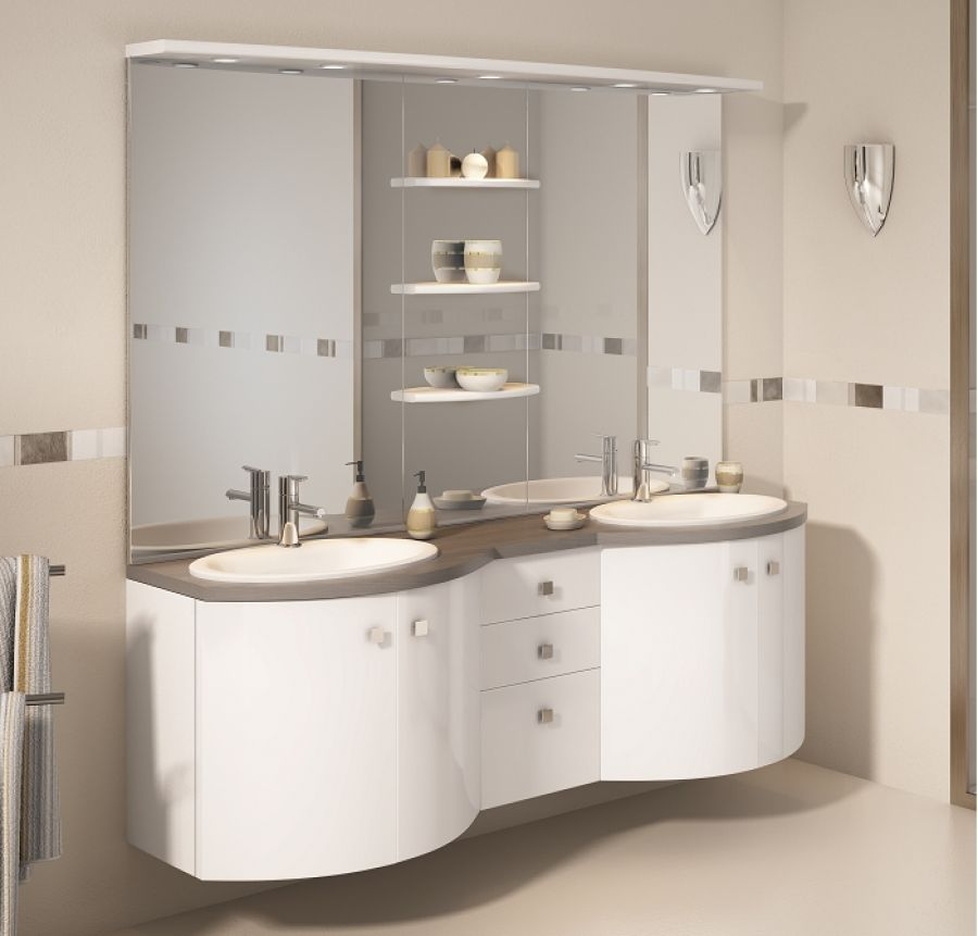 Old meuble double vasque 175cm eole blanc laqu meuble de salle - Meuble pour double vasque ...