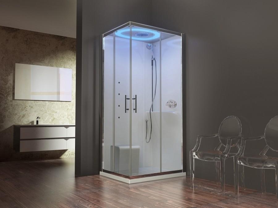cabine eon a100x80 hydromassage droite receveur extra plat meuble de salle de. Black Bedroom Furniture Sets. Home Design Ideas