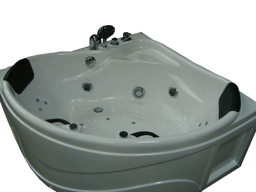 Baignoire d 39 angle balneo coco eau air air chromo - Baignoire angle 130x130 ...
