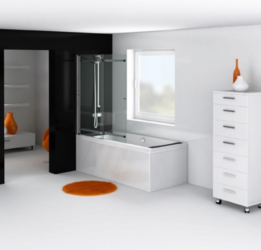 pare baignoire coulissant relevable 125x150cm oural meuble de salle de. Black Bedroom Furniture Sets. Home Design Ideas