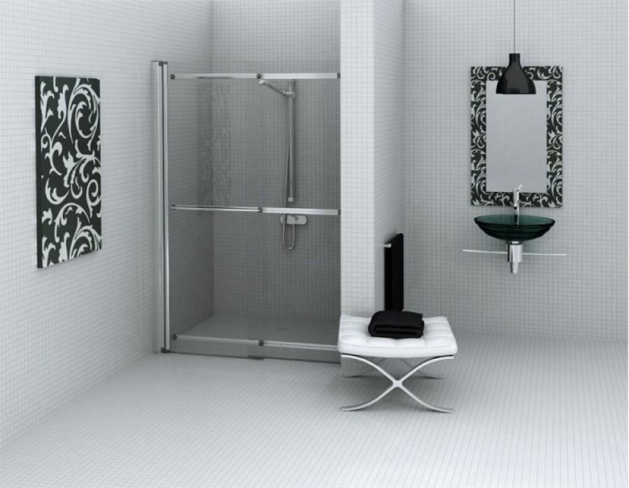 Porte de douche coulissante pivotante et relevable for Meuble sanitaire