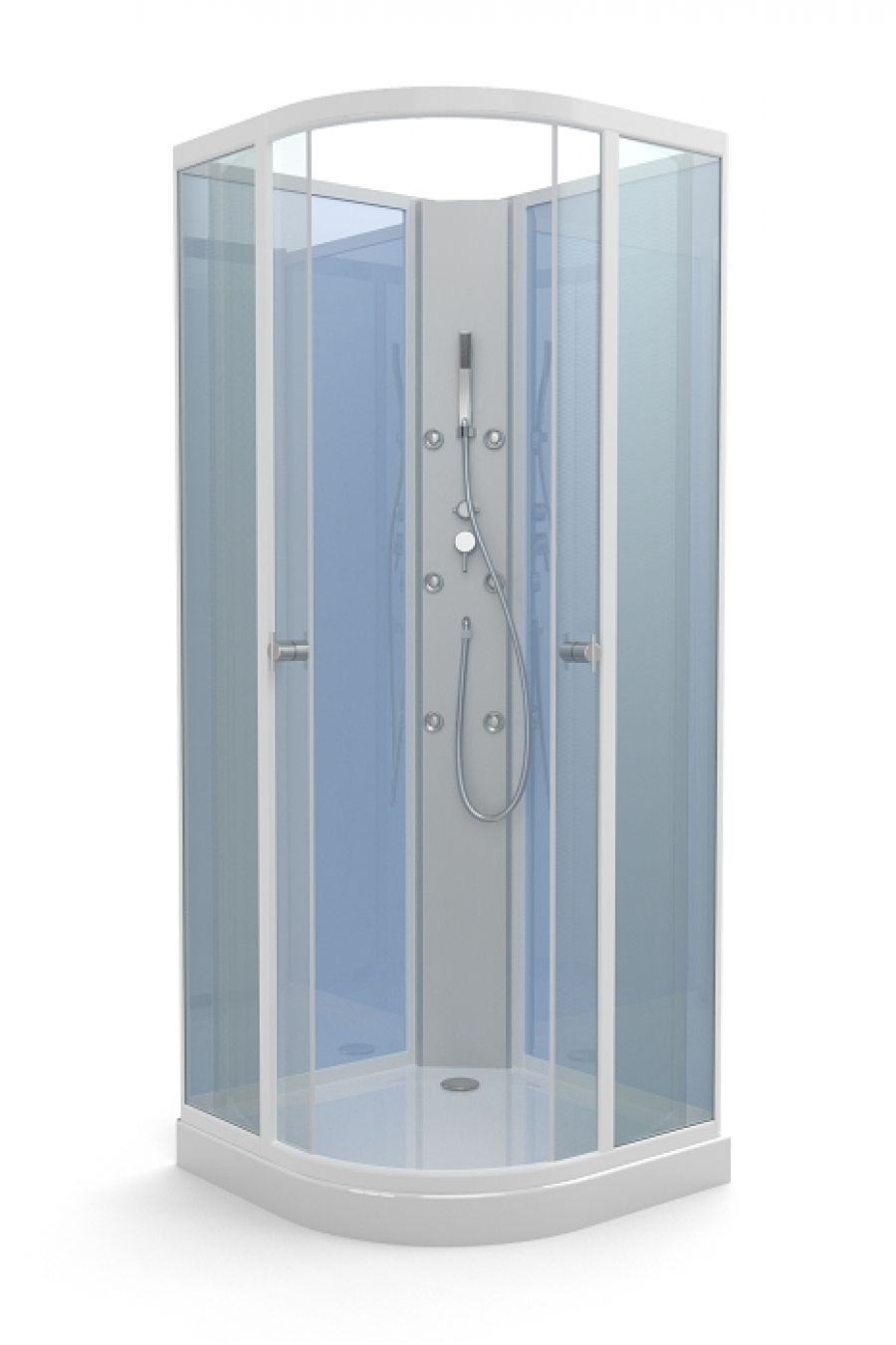 cabine de douche 1 4 rond blue yoda 85x85 meuble de salle de bain douche. Black Bedroom Furniture Sets. Home Design Ideas