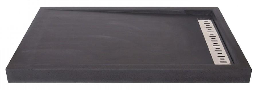 receveur de douche basalte noir coulement lin meuble de salle de bain. Black Bedroom Furniture Sets. Home Design Ideas