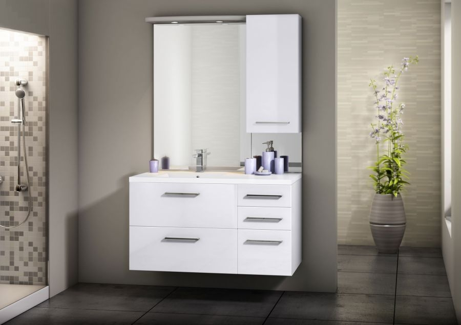 Meuble simple vasque integrale 105 cm cristal blanc for Meuble sanitaire