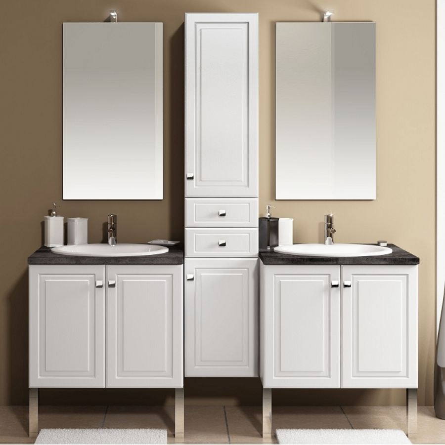 Old meuble double vasque 70cm colonne int grale fr ne blanc meuble de - Robinetterie cuisine professionnelle ...