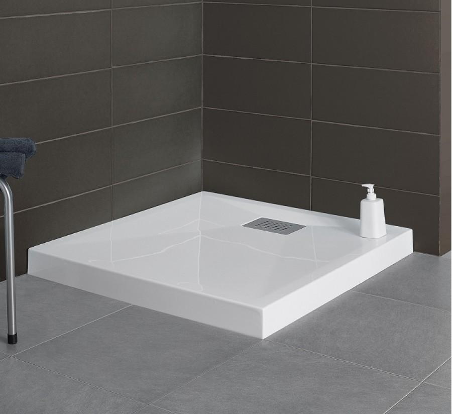 Receveur carr 80x80 kinesurf blanc meuble for Meuble sanitaire