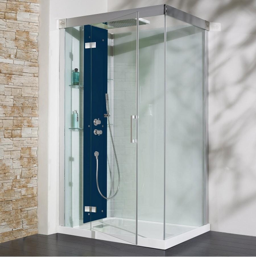 Cabine de douche thermostatique 120x90 kineform 120 perle for Cabine de douche baignoire