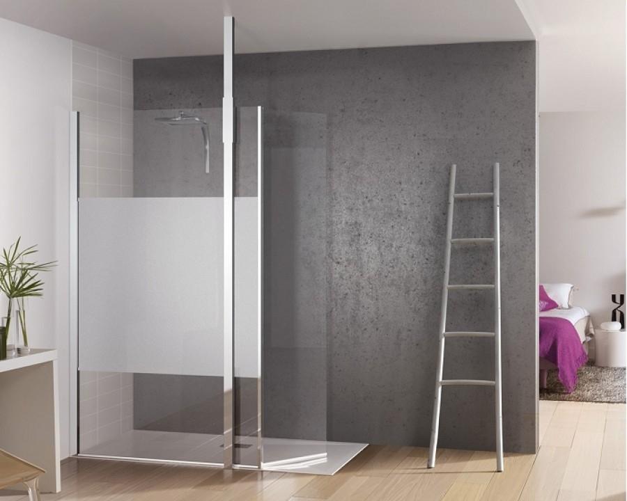 paroi de douche fixe avec bande centrale d polie volet pivotant kinespace duo avec m t 120. Black Bedroom Furniture Sets. Home Design Ideas