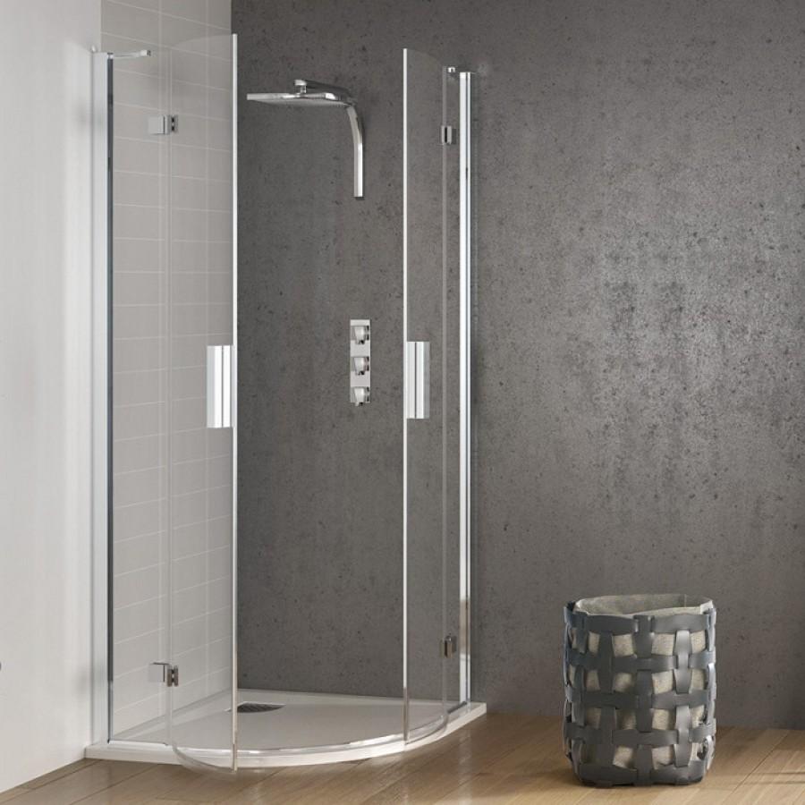 Paroi de douche 1 4 rond 90x90 kinespace for Meuble de douche