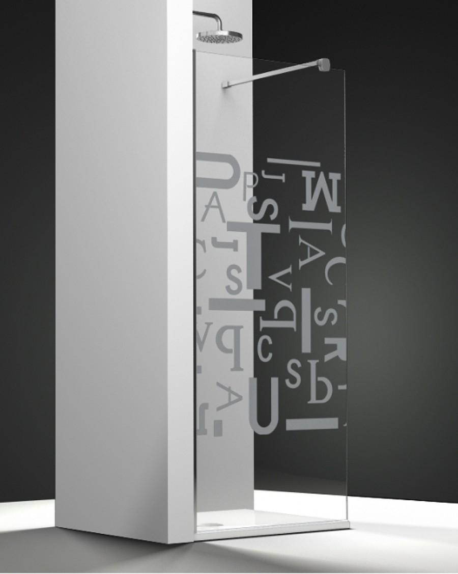 paroi de douche fixe one verre transparent sabl caract res 90cm meuble de. Black Bedroom Furniture Sets. Home Design Ideas