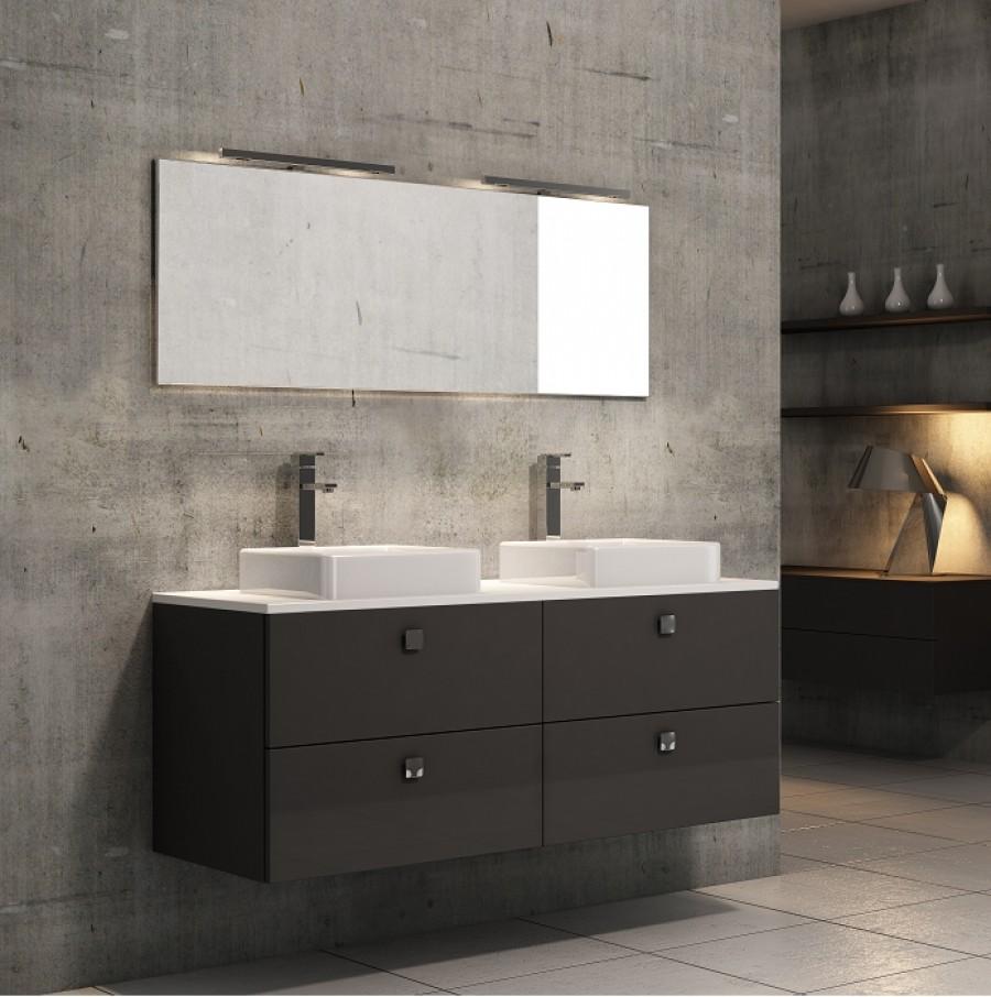 meuble double vasque loft 140 cm opale meuble de salle de bain douche. Black Bedroom Furniture Sets. Home Design Ideas