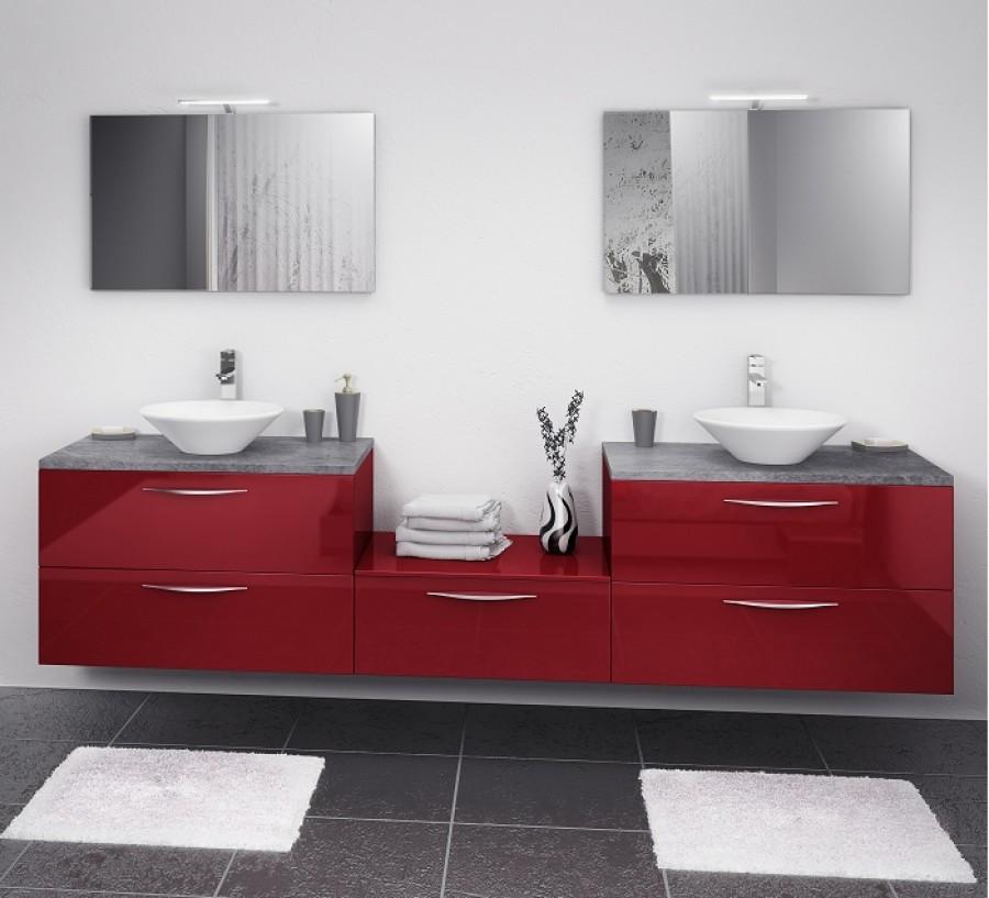 Meuble double vasque 180 cm loft cristal rouge sanitaire - Meuble en coin salle de bain ...