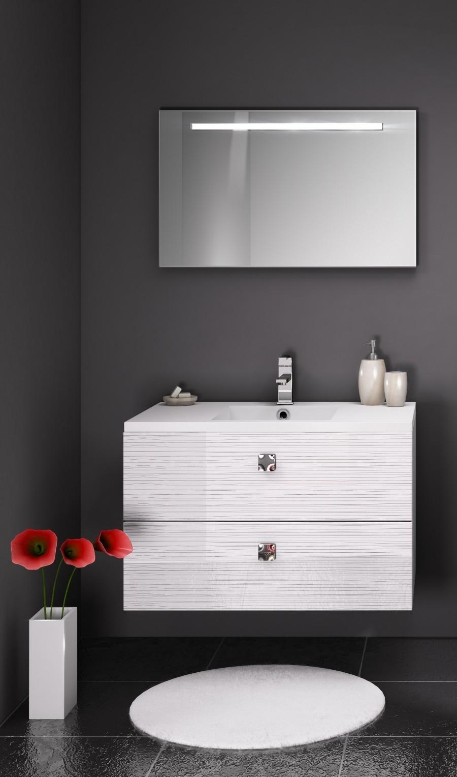 meuble simple vasque loft 90 cm serigloss meuble de salle de bain douche. Black Bedroom Furniture Sets. Home Design Ideas