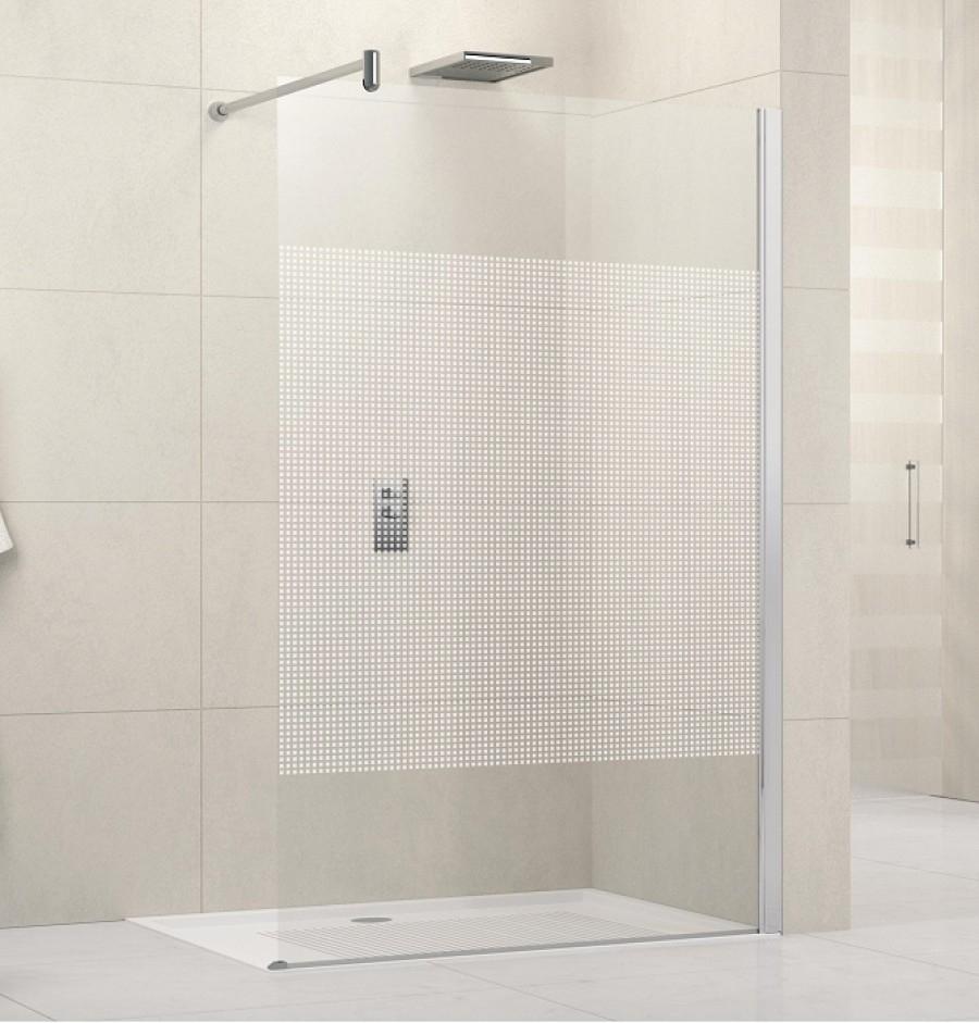 paroi de douche fixe lunes h 110cm serigraphie meuble de salle de bain. Black Bedroom Furniture Sets. Home Design Ideas
