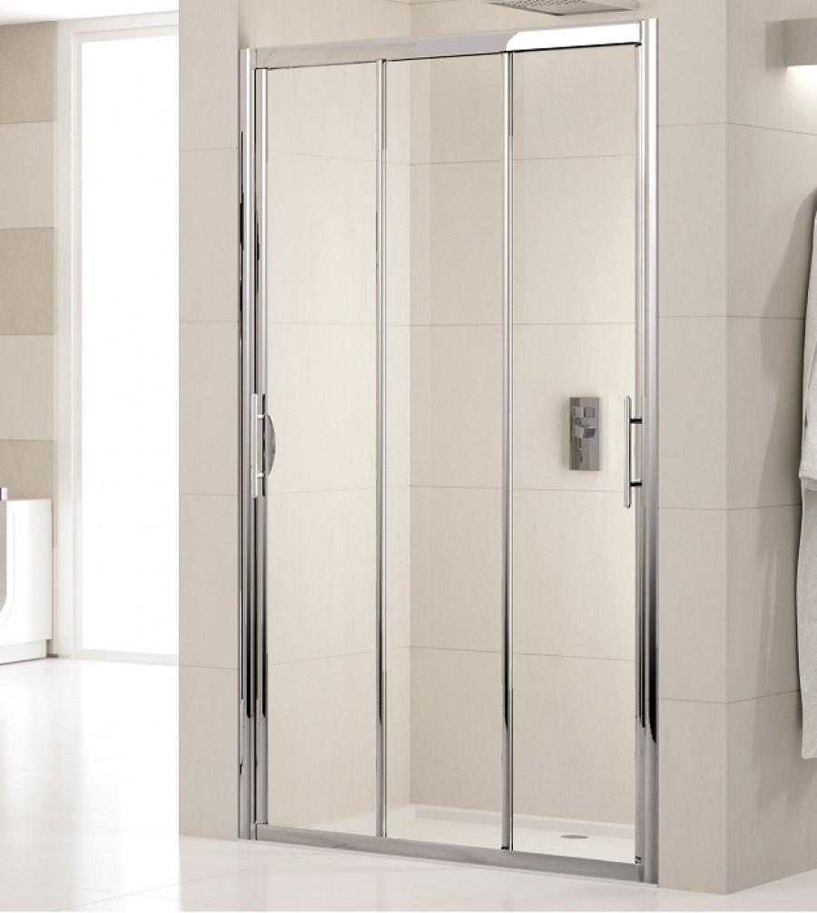 Porte de douche 3 panneaux coulissants lunes p 75cm for Porte coulissante transparente