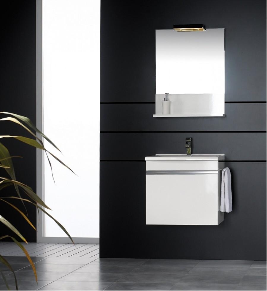 Meuble vasque 60cm avec miroir et clairage luxus de bloc for Meuble sanitaire