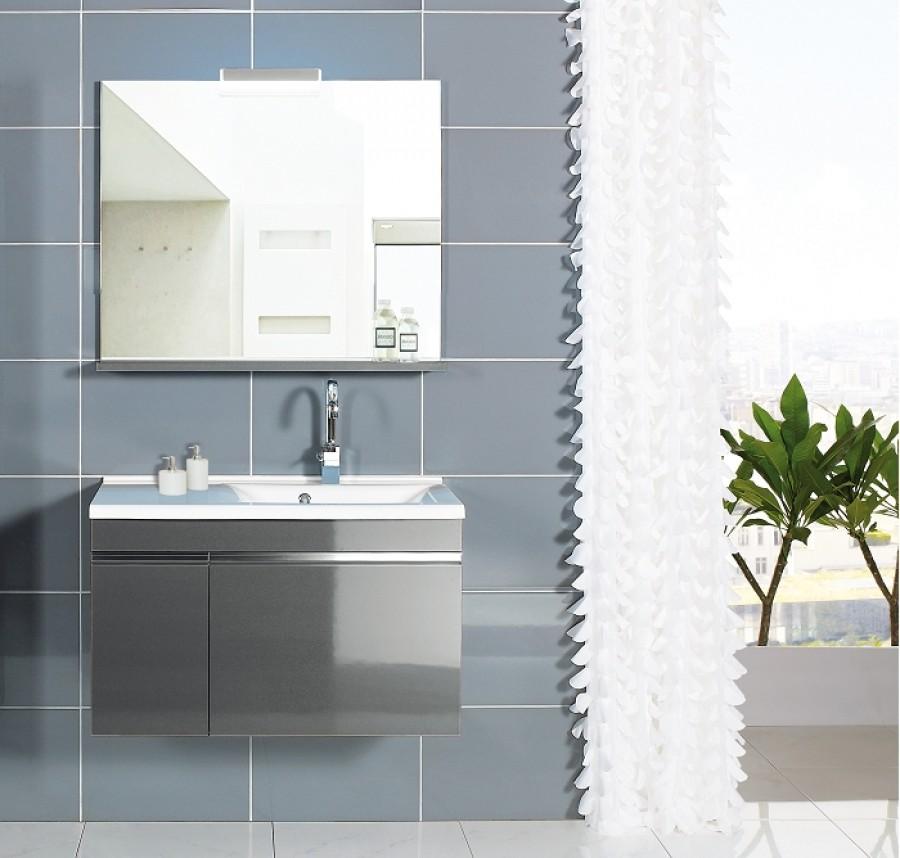 Meuble vasque droite 90cm avec miroir et clairage luxus for Meuble sanitaire