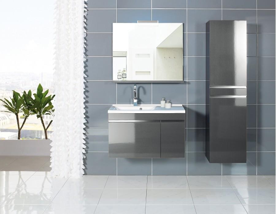 Meuble vasque gauche 90cm avec miroir et clairage luxus for Meuble sanitaire