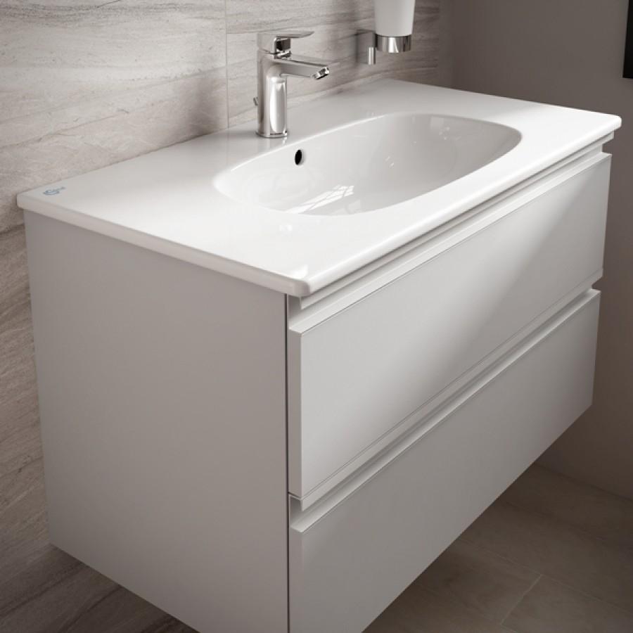 Meuble tesi ideal standard 60cm blanc laqu for Meuble de baignoire