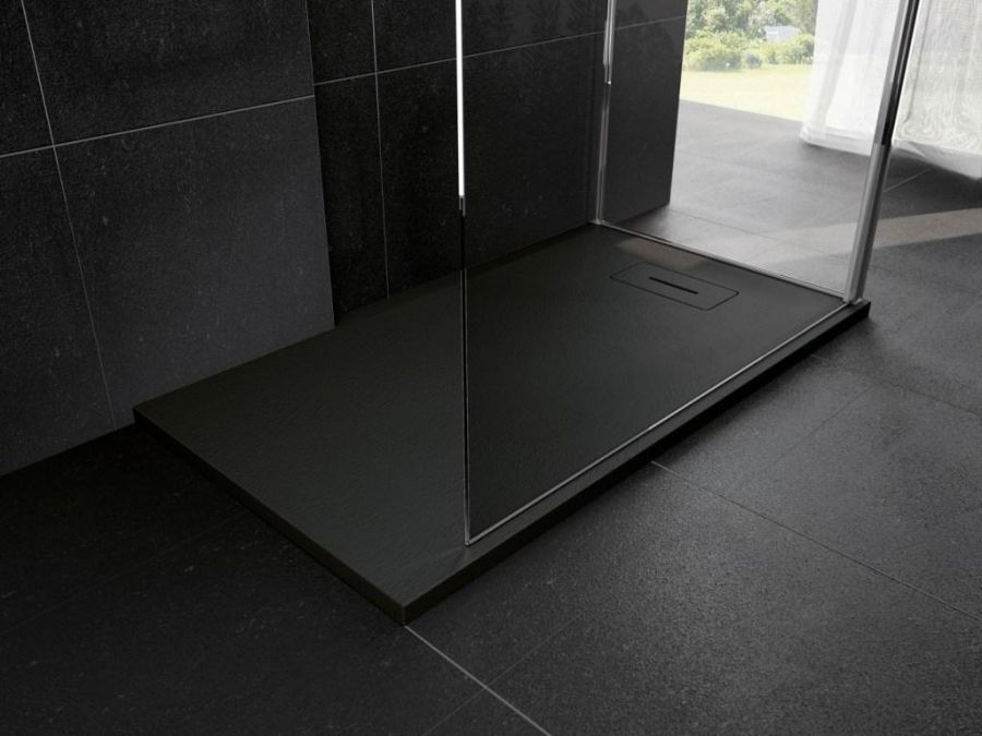 Receveur novosolid 140 x 80 noir mat novellinisanitaire for Meuble de douche