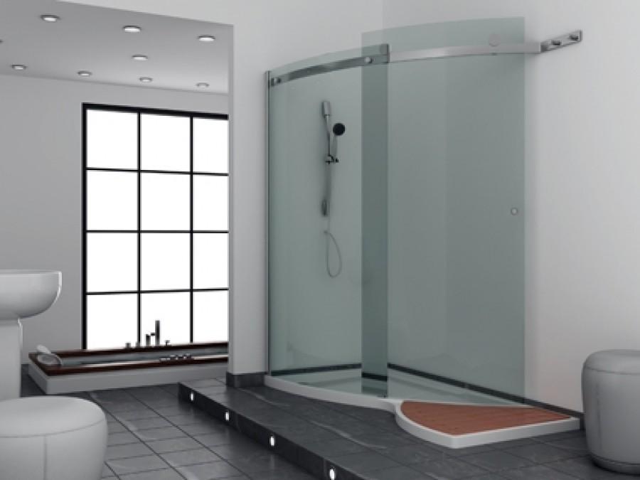 porte coulissante courbe shiny avec receveur version gauche meuble de. Black Bedroom Furniture Sets. Home Design Ideas