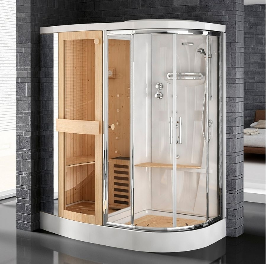 cabine de douche avec sauna stockolm r 180 version gauche meuble de salle de. Black Bedroom Furniture Sets. Home Design Ideas