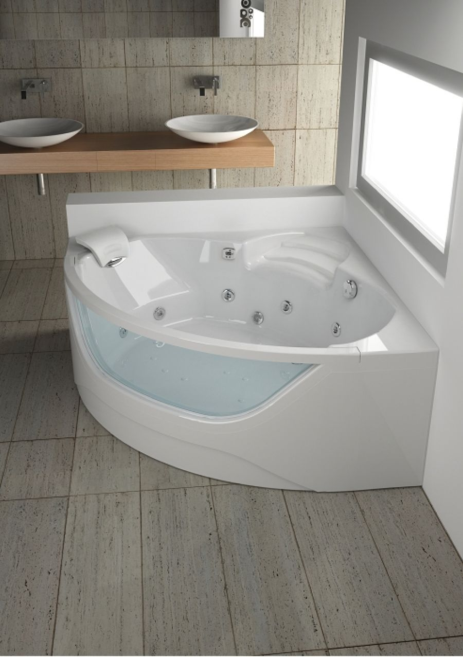 baignoire baln o visio d 39 angle 145x145 concept detente meuble de salle de. Black Bedroom Furniture Sets. Home Design Ideas