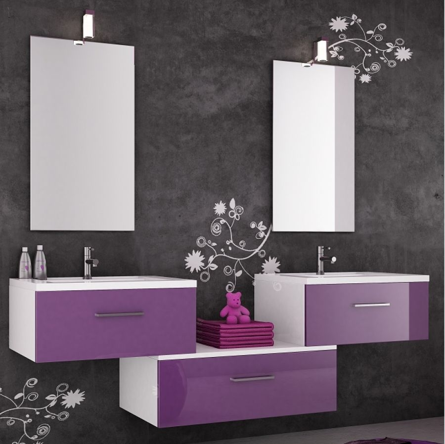 Meuble double vasque vogue 70 cristal for Meuble de baignoire