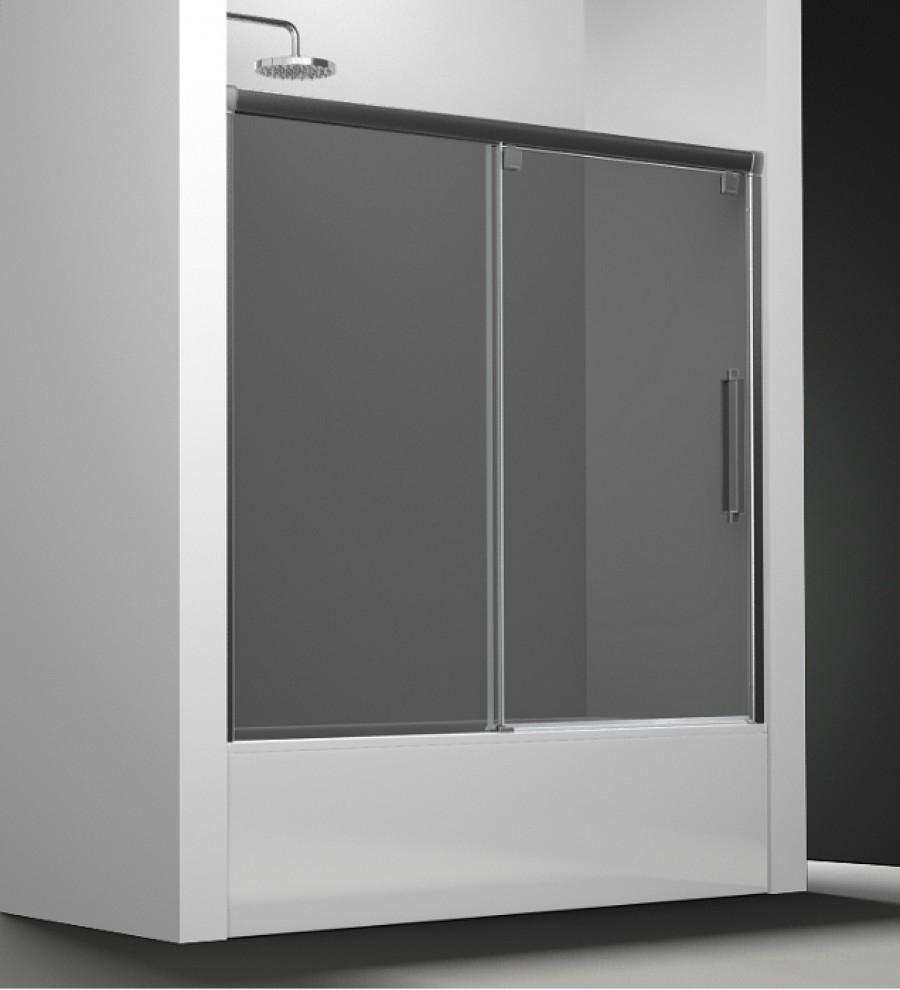 Paroi de baignoire verre fum 1 panneau coulissant 180cm - Pare baignoire miroir ...